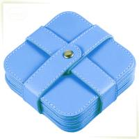 leather square beer coaster with 6 pcs