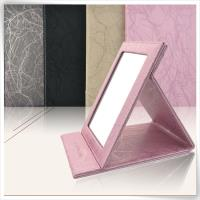 Foldable faux PU leather mirror
