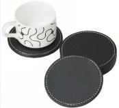 black leather round coaster s/4