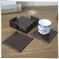 Brown crocodile leather coaster