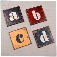ABCD printing leather coaster