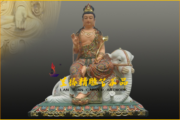 文殊普贤菩萨-木雕彩绘